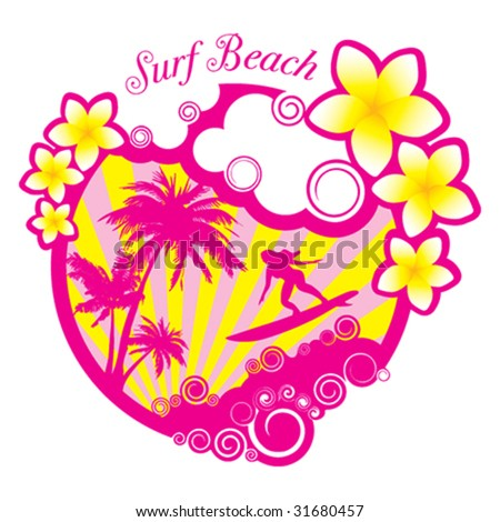 Vertor Surf Beach illustration - stock vector