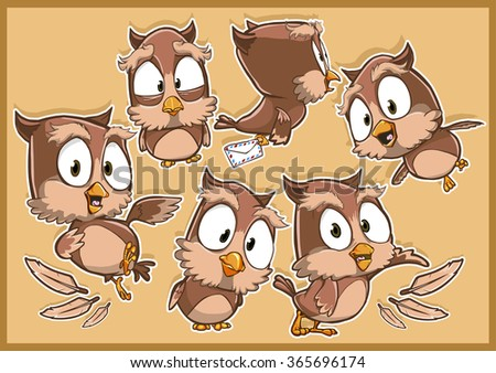 Very adorable owl  bird cartoon character set with different poses and emotions isolated on the brown background - stock vector