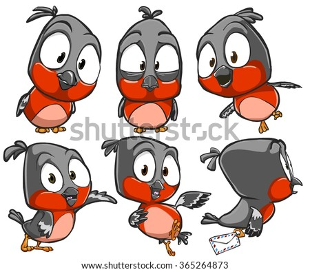 Very adorable set of cartoon robin bird character with different poses and emotions isolated on background