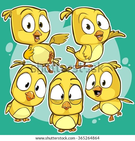 Very adorable yellow cartoon bird character set with different poses and emotions - stock vector