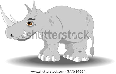 Very angry rhino with big horns, vector