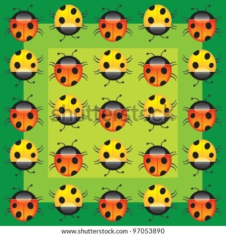 Very beautiful composition from animated beautiful ladybirds. Vector illustration. isolated on white background, EPS8, all parts (object)  closed, possibility to edit, without transparence. - stock vector