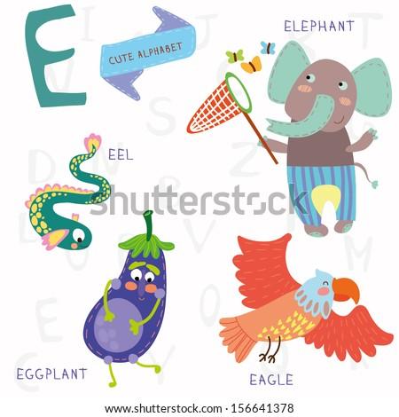 Very cute alphabet. A letter. Elephant, eagle, eggplant, eel. Alphabet design in a colorful style. - stock vector