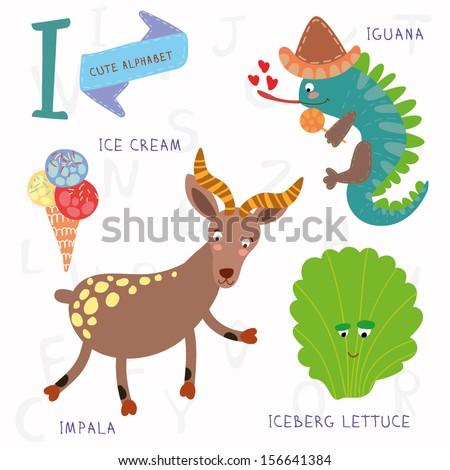 Very cute alphabet. A letter. Iceberg lettuce, iguana, ice cream, impala. Alphabet design in a colorful style. - stock vector