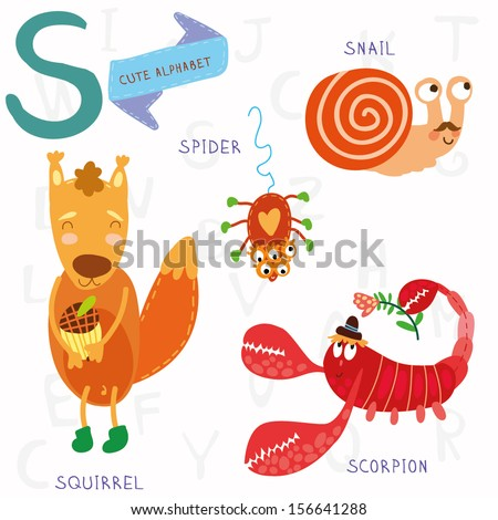 Very cute alphabet. A letter.Squirrel, scorpion, spider, snail. Alphabet design in a colorful style. - stock vector