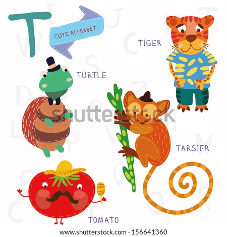Very cute alphabet. A letter. Tarsier,Turtle, tomatoes, tiger. Alphabet design in a colorful style. - stock vector