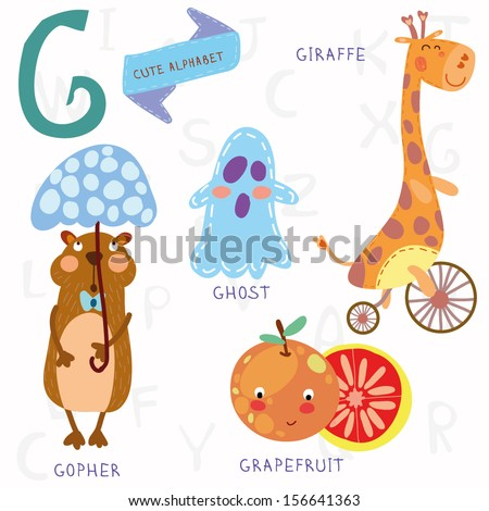 Very cute alphabet.G letter. Ghost,gopher, giraffe, grapefruit. Alphabet design in a colorful style.