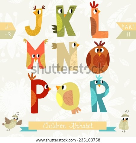 Very cute children alphabet made of characters birds in vector . Part II. Learn to read. Isolated. Alphabet design in a colorful style. - stock vector