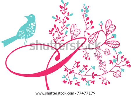 very cute print with letter I and bird - stock vector
