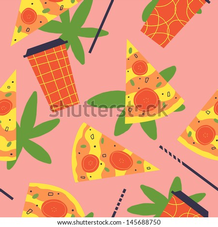 Very delicious pattern with pizza and coke. Vector seamless - stock vector