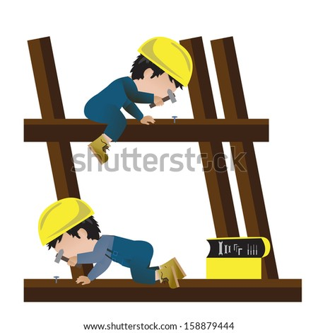 Very Detailed Drawn Builder Workers Set - Isolated On White Background - Vector Illustration, Graphic Design - stock vector