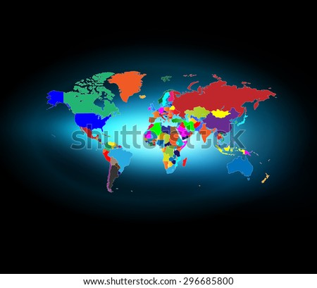 Very Detailed World Map with Shiny Background - stock vector