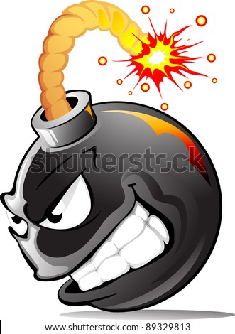 Very evil cartoon bomb ready to explode! - stock vector