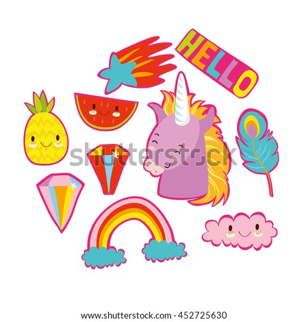 very fashionable stickers. in the style of 80's.crystals, Unicorn, clouds, rainbow, magic, star, feather, pineapple, watermelon. quirky cartoon  badges  - stock vector