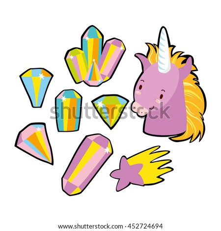very fashionable stickers. in the style of 80's.crystals, Unicorn, magic, star. quirky cartoon  badges  - stock vector