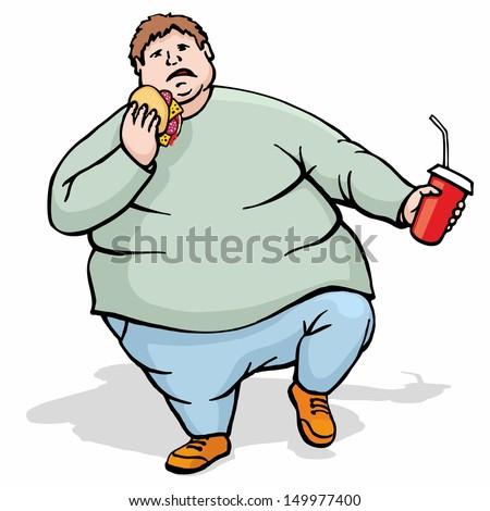Very fat big man walk, eat sandwich and drink - stock vector
