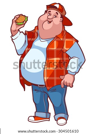 Very fat happy man with a big belly and a hamburger in his hand. Fat Man in a red plaid shirt and jeans. Vector cartoon character on a white background. - stock vector