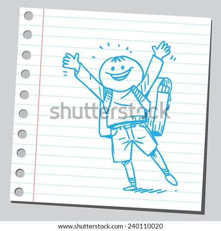 Very happy and cheerful schoolkid - stock vector