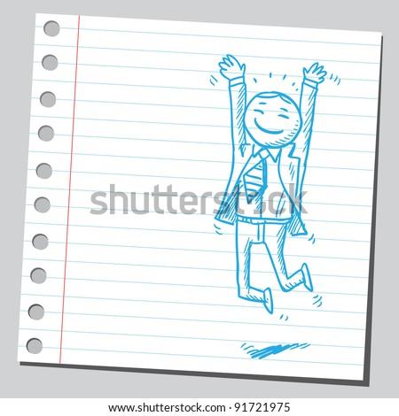 Very happy businessman - stock vector