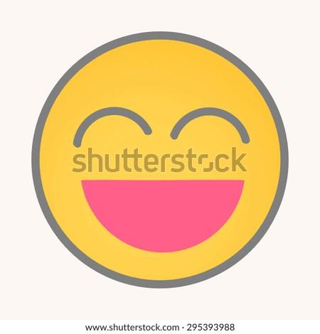 Very Happy - Cartoon Smiley Vector Face - stock vector