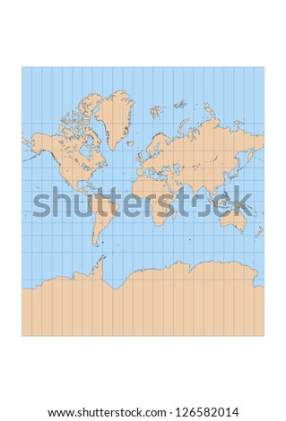 Very high detailed map of the world in Mercator projection with graticule. Centered in Europe and Africa - stock vector