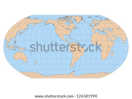 Very high detailed map of the world in Robinson projection with graticule. Centered in the American Continent - stock vector