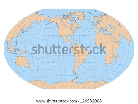 Very high detailed map of the world in Winkel Tripel projection with graticule. Centered in the American continent - stock vector