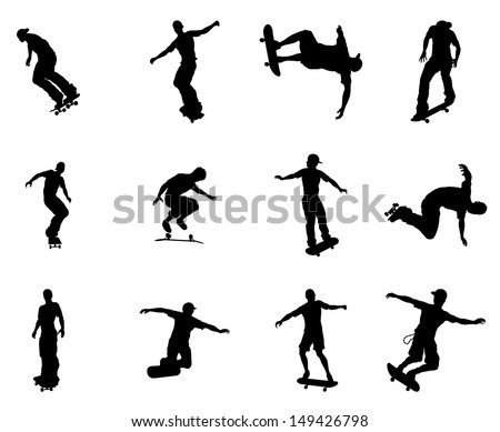 Very high quality and highly detailed skating skateboarder silhouette outlines.  - stock vector