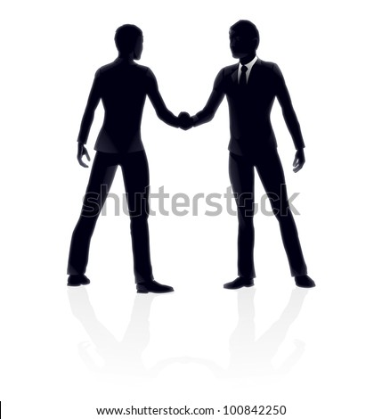 Very high quality detailed business people handshake illustration. - stock vector