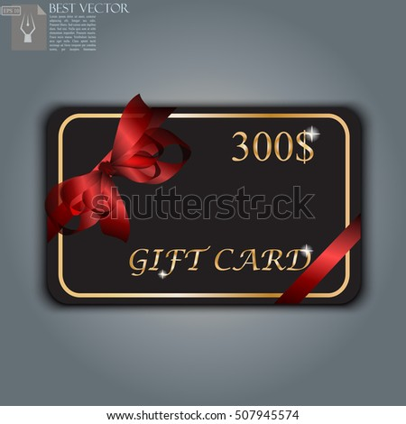 Very high quality original trendy vector gift card with realistic ribbon can be used for gifts, presents, banners, sale, web, design