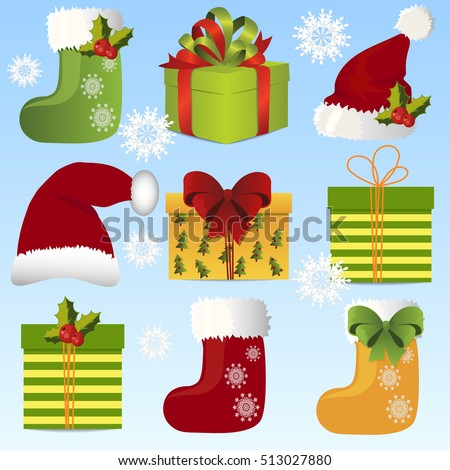 Very high quality original trendy vector illustration with christmas gift bow, gift or present box and christmas socks or boots with fur, bows and holly