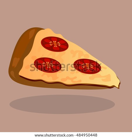 Very high quality original trendy  vector pizza with tomato slices