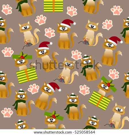 Very high quality original trendy vector seamless pattern with cute cats and paws