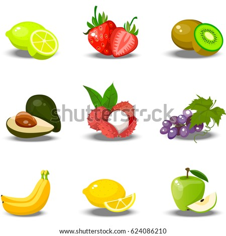 Very high quality original trendy vector set of realistic juicy fruits. lime, strawberry, kiwi, lychee, grape, lemon, apple, banana, feijoa Fully editable vector