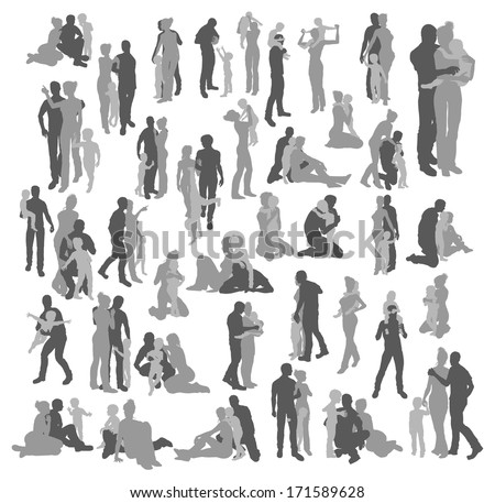 Very many high quality detailed silhouettes of a young happy family, couple and child, in various poses  - stock vector