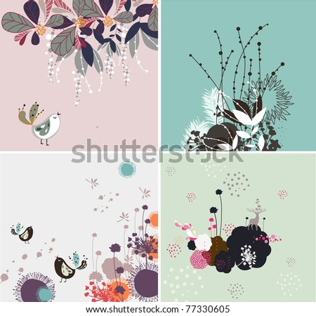 very nice and high quality floral pattern for card or fabric design set - stock vector