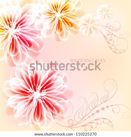 Very nice card for the wedding day - stock vector