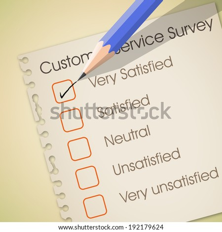 Very satisfied check box in customer service survey vector - stock vector