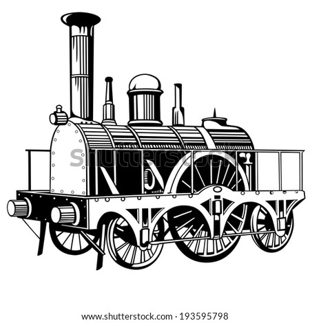 very small and old locomotive for design - stock vector