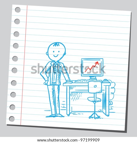 Very successful businessman in office - stock vector