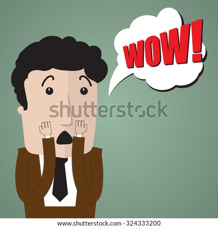 Very surprised by something or someone businessman - stock vector