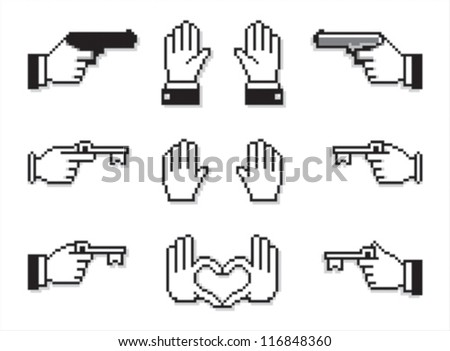 Very uncommon set of cursor hands with guns and keys, hands up and hands forming a heart sign. - stock vector