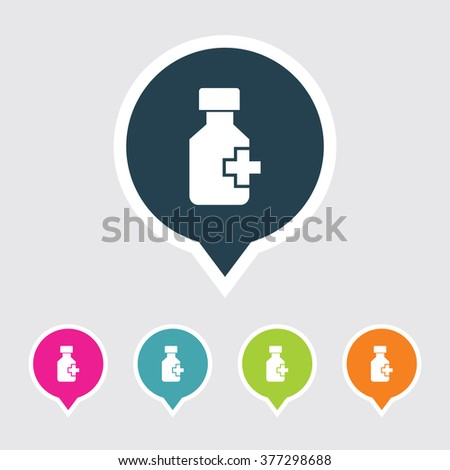 Very Useful Editable Drug Bottle Icon on Different Colored Pointer Shape. Eps-10. - stock vector