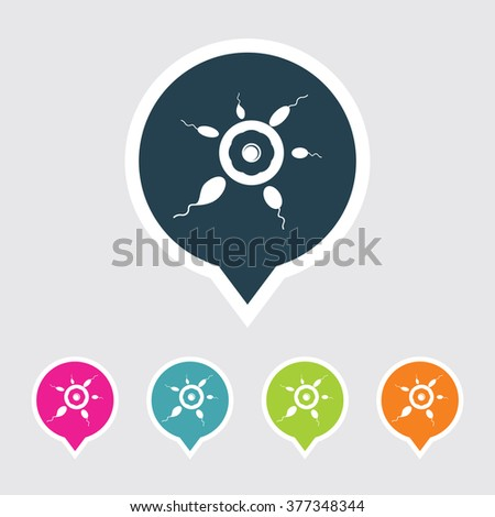 Very Useful Editable Egg & Sperms Icon on Different Colored Pointer Shape. Eps-10. - stock vector