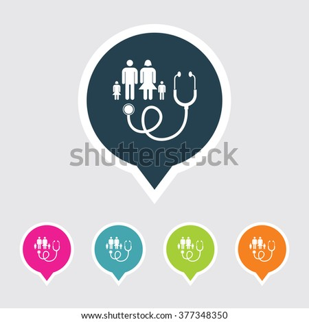 Very Useful Editable Family Doctor Icon on Different Colored Pointer Shape. Eps-10. - stock vector