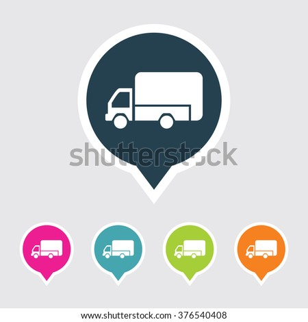 Very Useful Editable Mini Truck Icon on Different Colored Pointer Shape. Eps-10. - stock vector