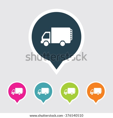 Very Useful Editable Mini Truck Icon on Different Colored Pointer Shape. Eps-10.