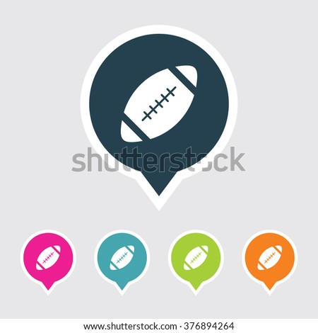 Very Useful Editable Rugby Ball Icon on Different Colored Pointer Shape. Eps-10. - stock vector