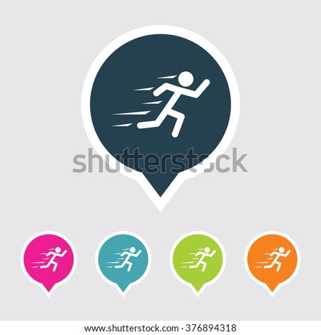 Very Useful Editable Runner Icon on Different Colored Pointer Shape. Eps-10. - stock vector