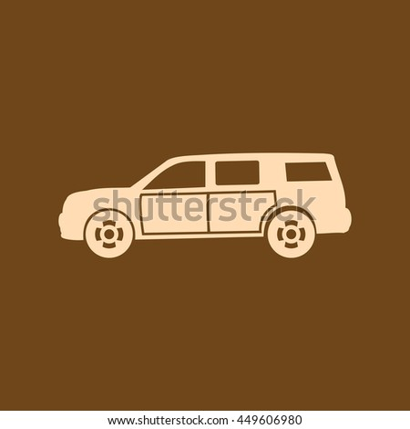 Very Useful Editable Vector icon of Car on coffee color background. eps-10.
